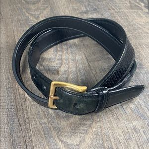 """Cole Haan 43"""" Black and brass buckle leather belt"""
